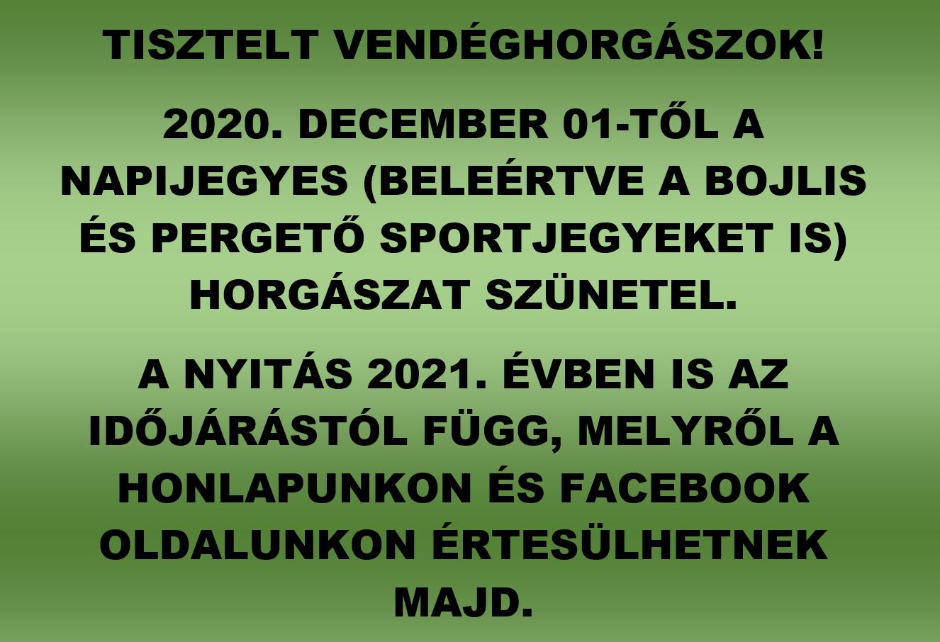 Vendéghorgászat 2020. december 01-től szünetel