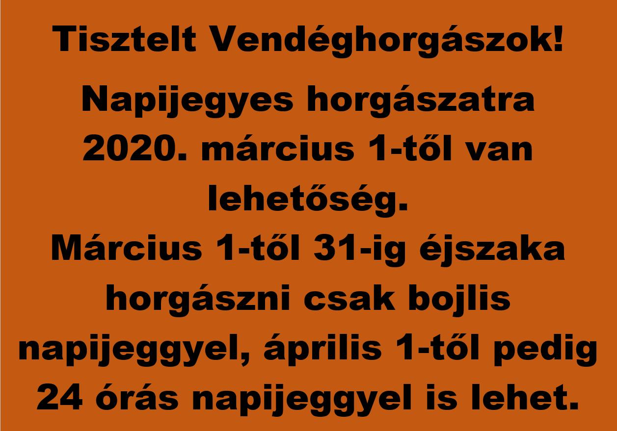 Napijegyes horgászat 2020.03.01-től